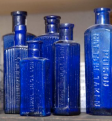 Antique Blue Glass Poison Bottles - £6